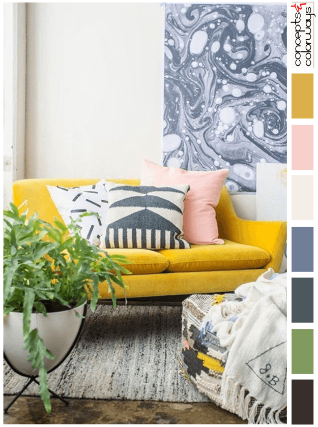 mustard yellow and pink interior design color palette