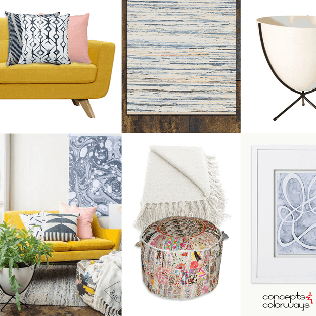 mustard yellow and pink interior styling ideas