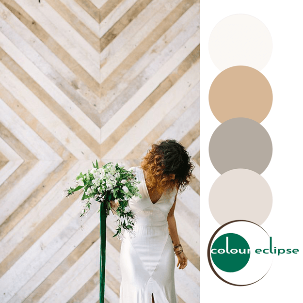 tan and white color palette with emerald green accent