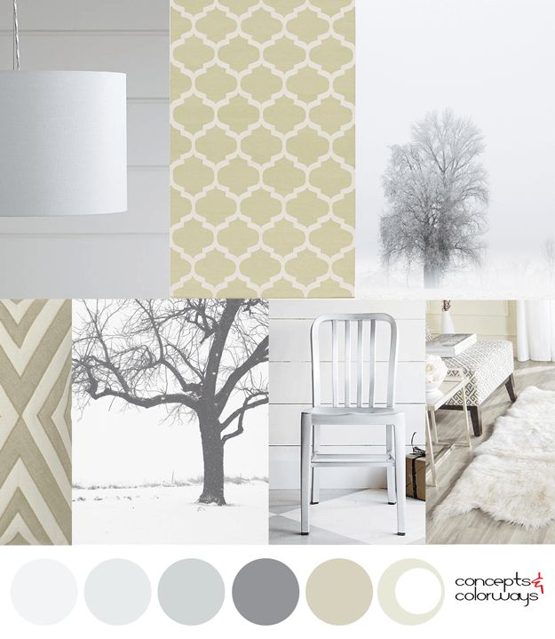 greenish-gold and light gray interior color palette