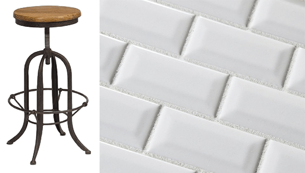 industrial stool and white beveled subway tile