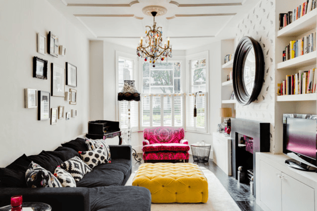 eclectic living room with pantone spicy mustard ottoman