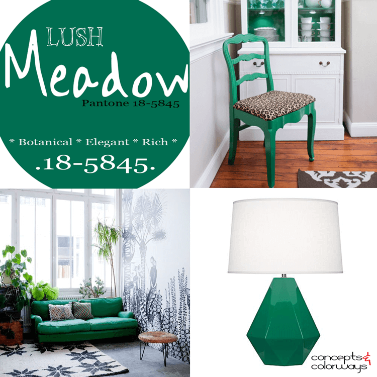 pantone lush meadow, lush meadow used in interior design, 2016 color trends, emerald green