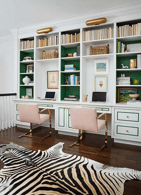 feminine home office with emerald green accents
