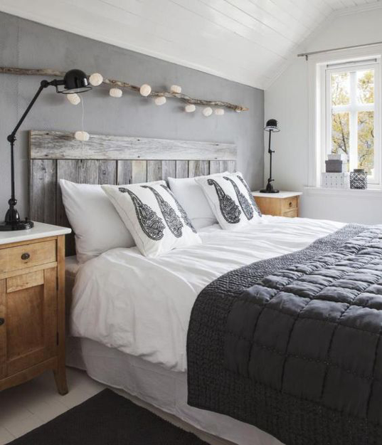 gunmetal gray bedroom with reclaimed wood headboard