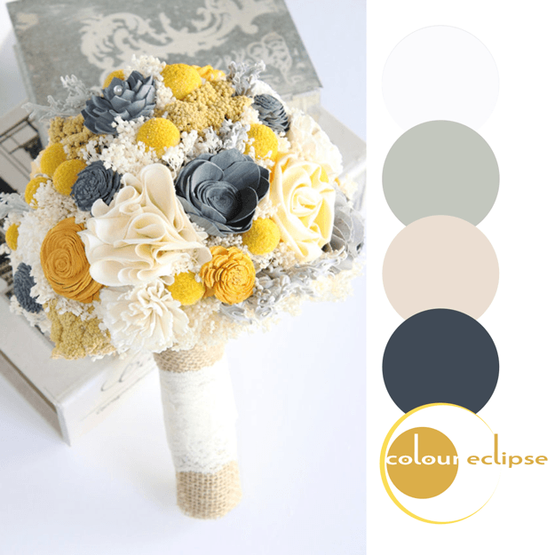 wedding bouquet with color palette