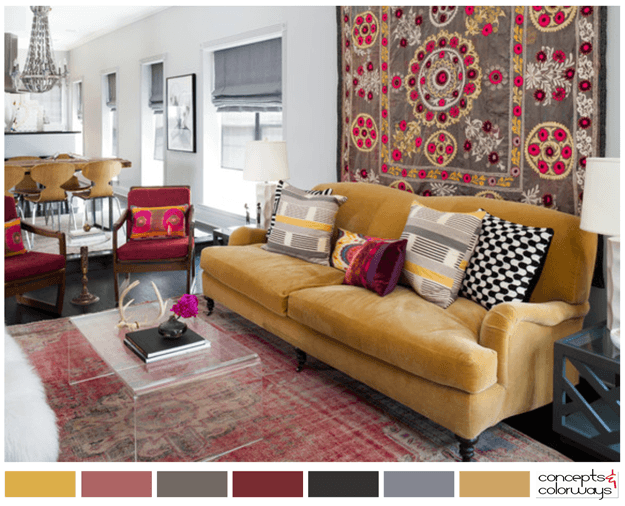 trendy tribal living room with color palette