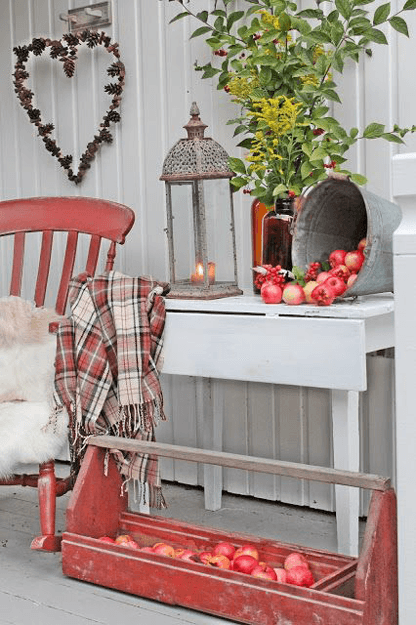 white country porch with faded red accents
