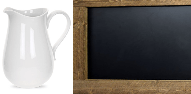 white farm pitcher and chalkboard with wood frame