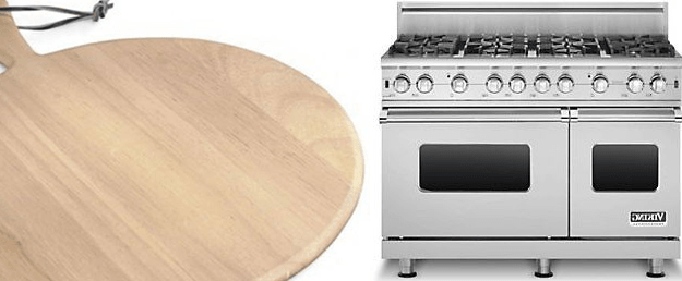 blonde wood paddle board and stainless steel range