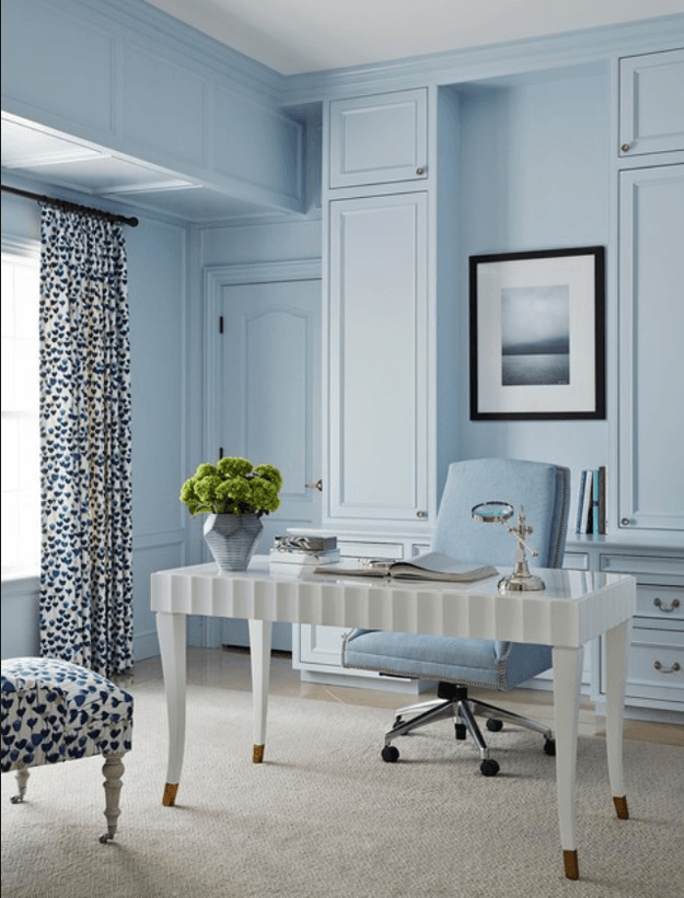 baby blue home office with white desk