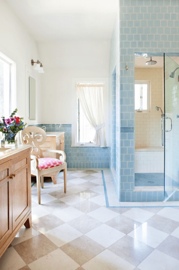 traditional bathroom with powder blue wall tile