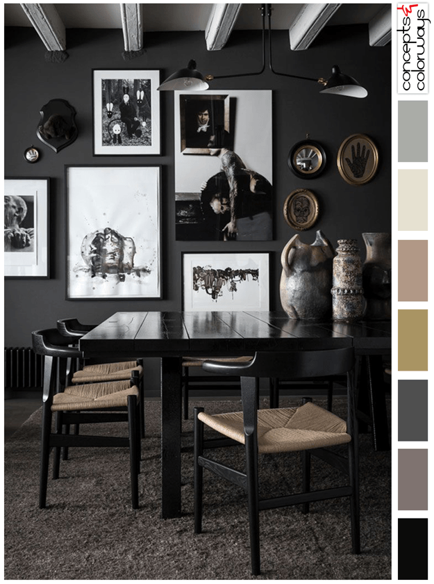 black and mauve interior color palette