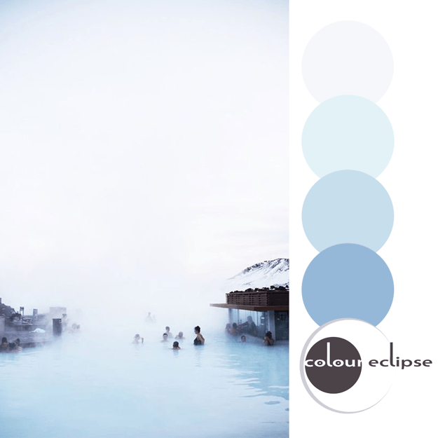 iceland blue lagoon with color palette