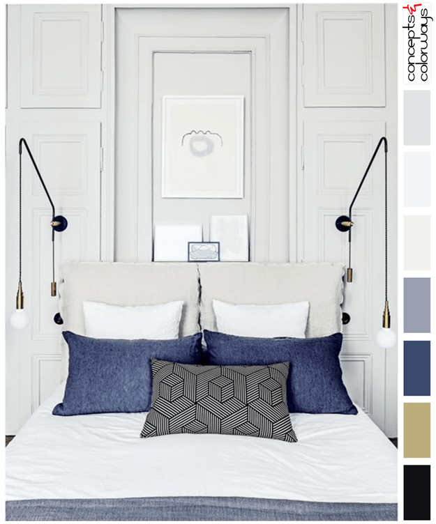 antique white and denim interior color palette