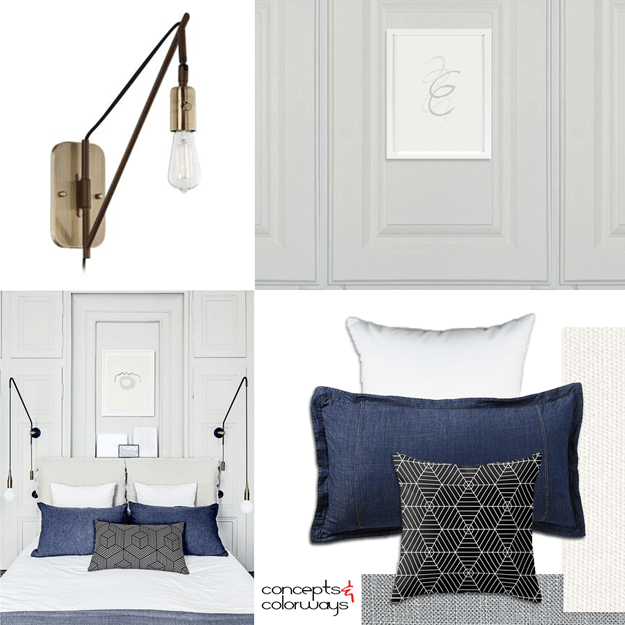 antique white and denim interior mood board