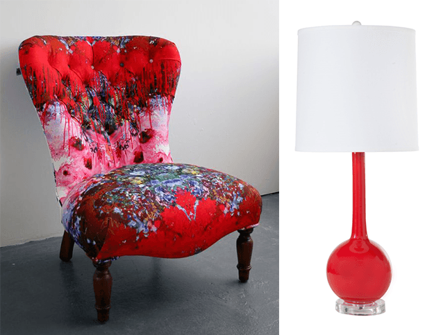 bright red custom upholstered chair and lamp