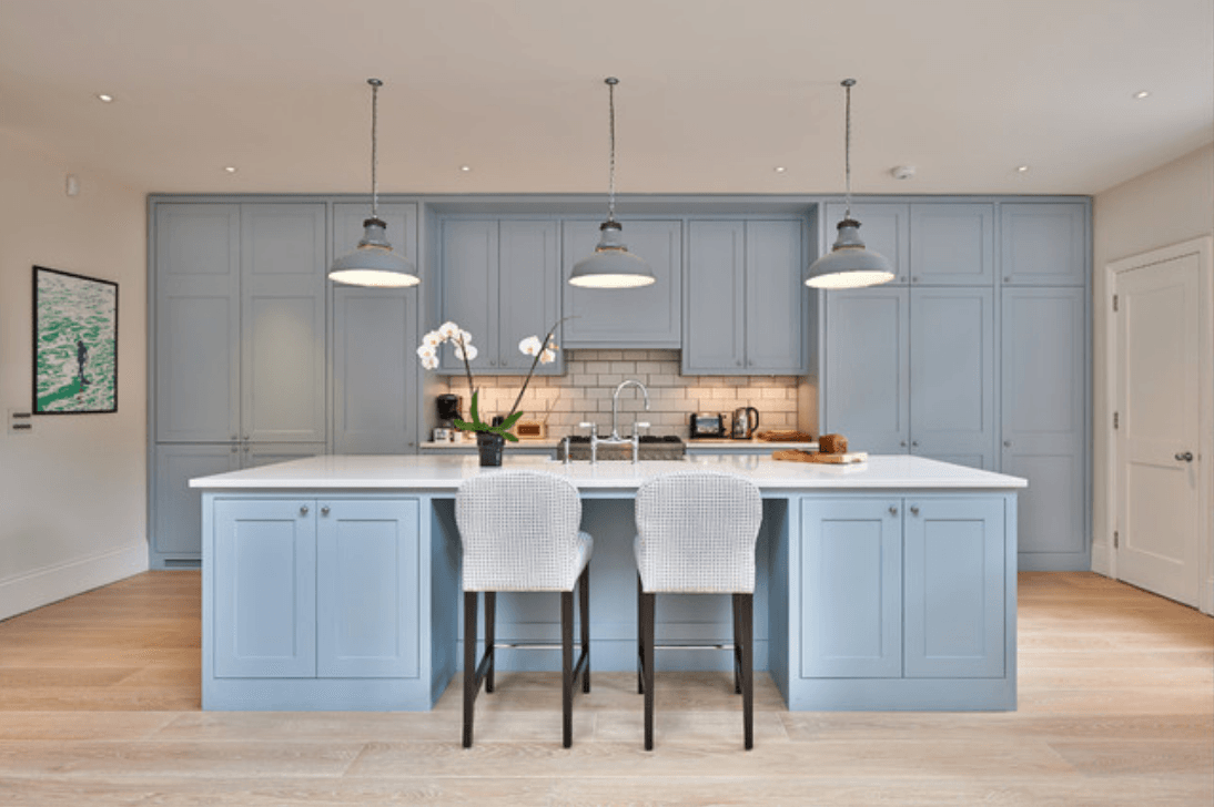modern kitchen with powder blue cabinets