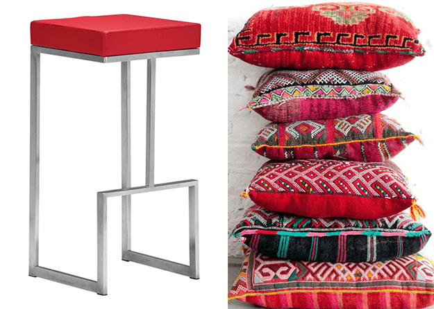 bright red moroccan pillows and modern bar stool