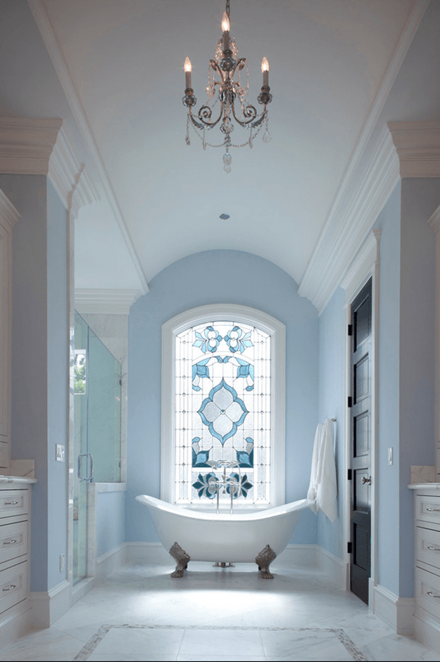powder blue and white classic bathroom