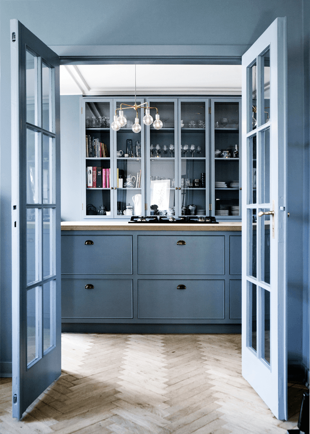 powder blue modern kitchen