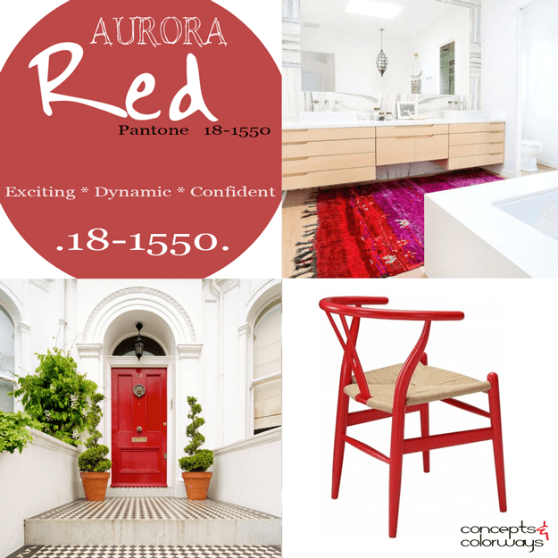 pantone aurora red used in interior design