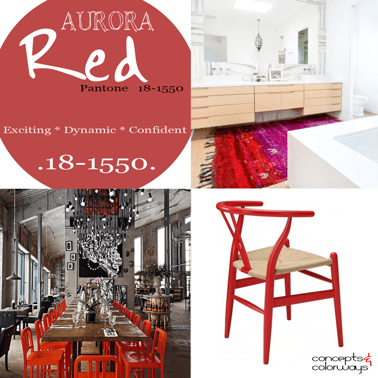 pantone aurora red, 2016 color trends, aurora red used in interior design, poppy, red bright red