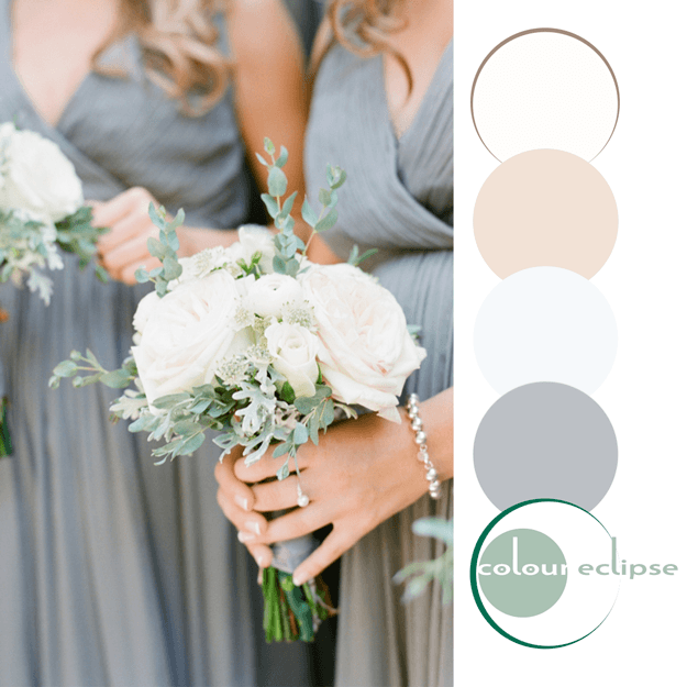 gray eucalyptus and cream color palette