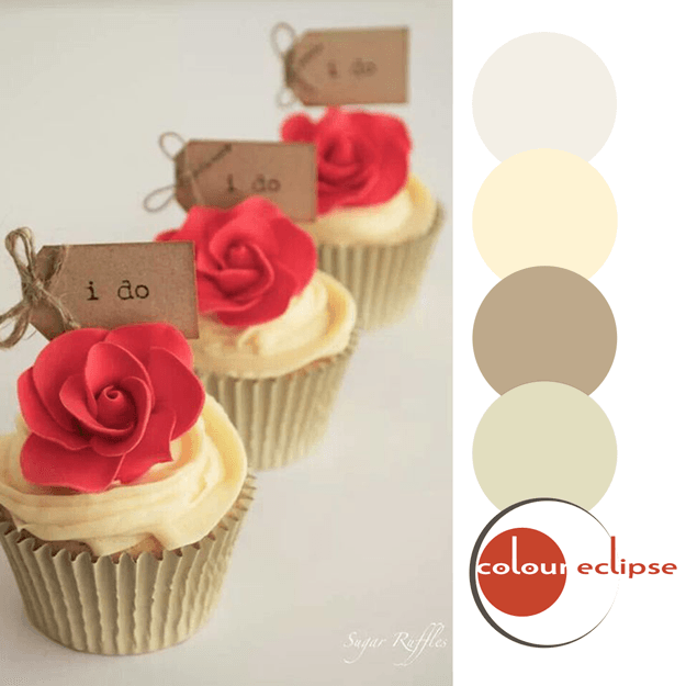 khaki and poppy red color palette