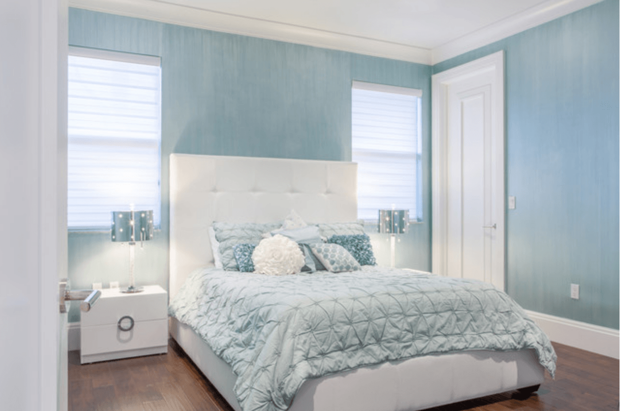 powder blue and white bedroom
