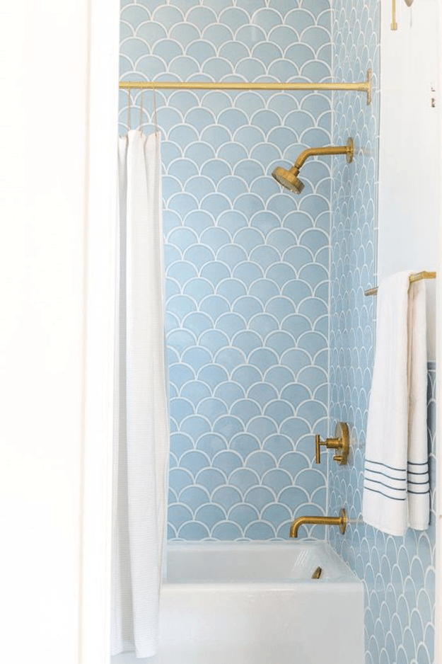 retro shower with powder blue scallop tile