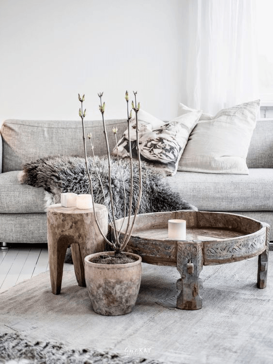 taupe and gray living room design