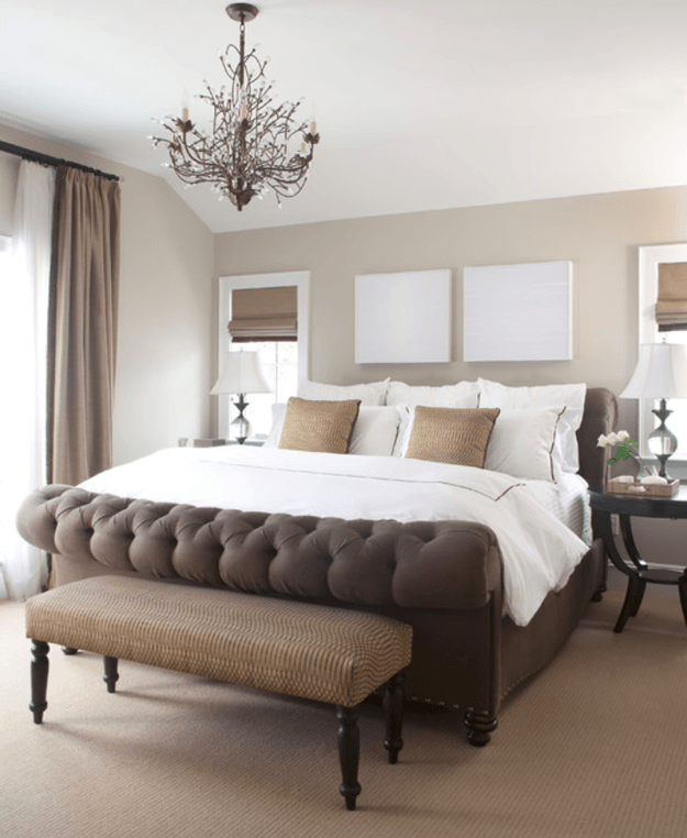Warm taupe bedroom with white accents min