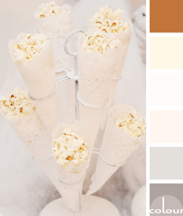 popcorn in doilie cone color palette