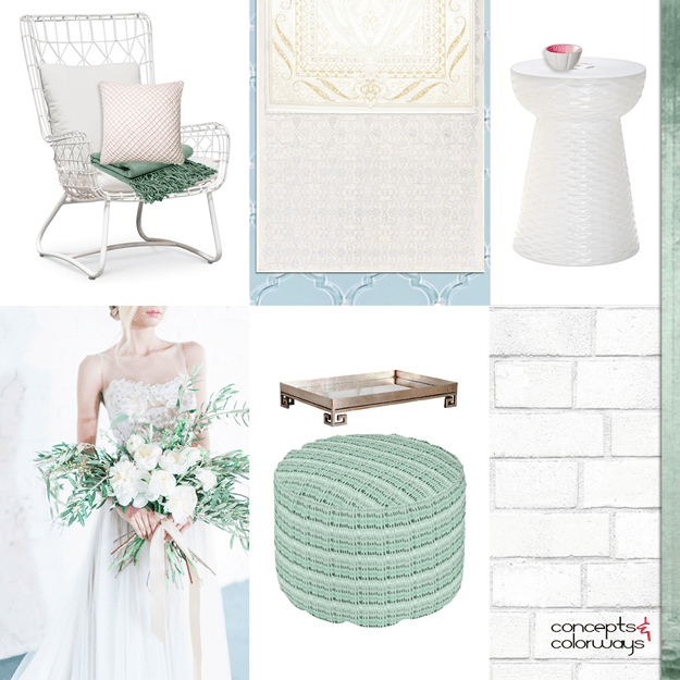 kind green and white interior mood board
