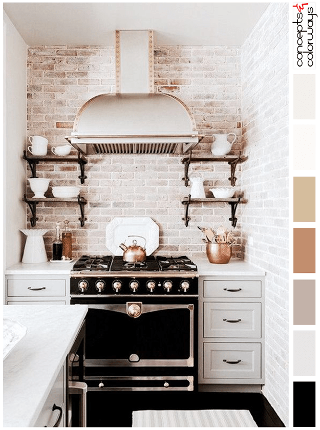 whitewashed brick kitchen black accents