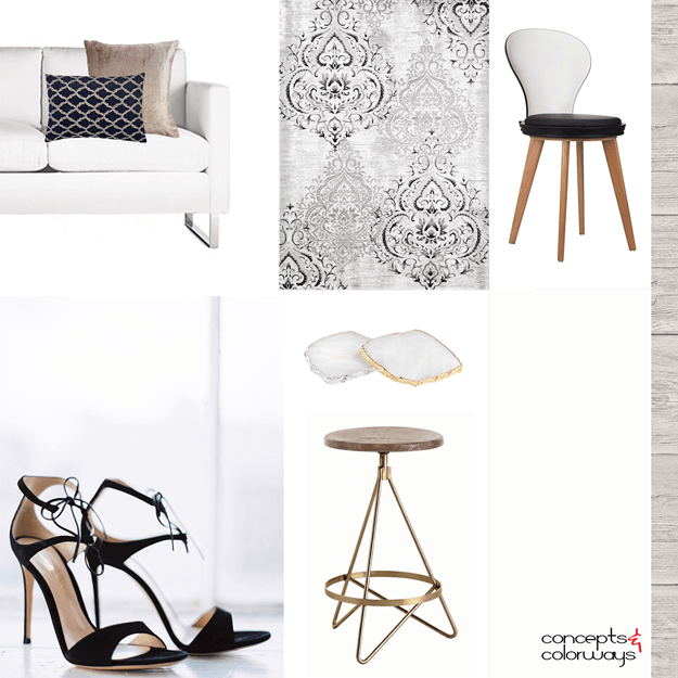black blush and gray interior mood board