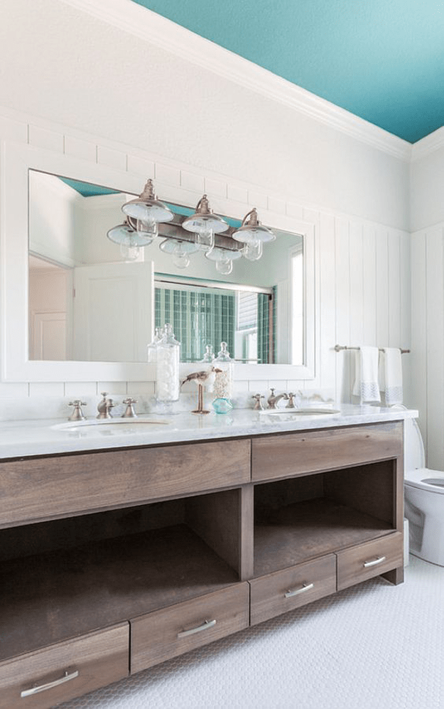 beach style bathroom with turquoise ceiling