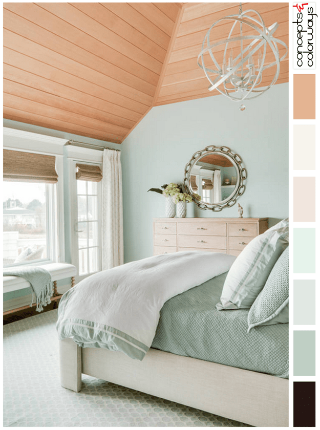 seafoam green and red oak color palette