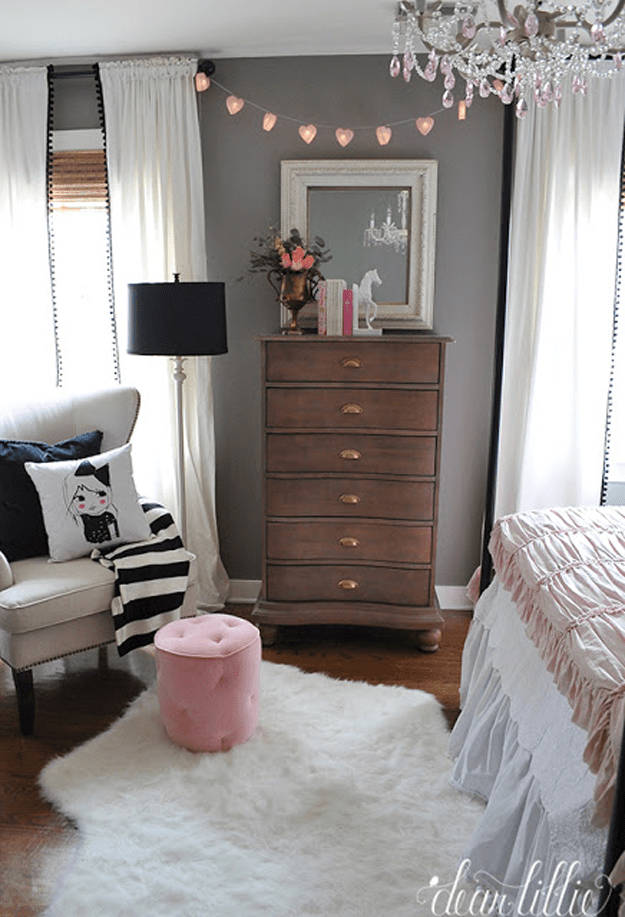 girls bedroom with chocolate brown dresser