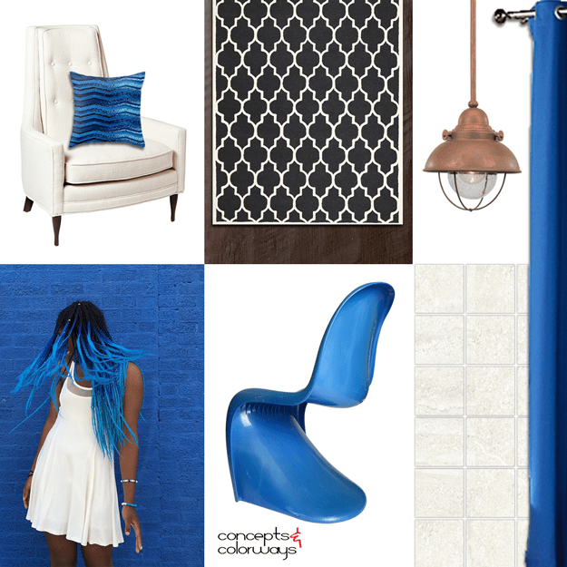 bright blue interior mood board