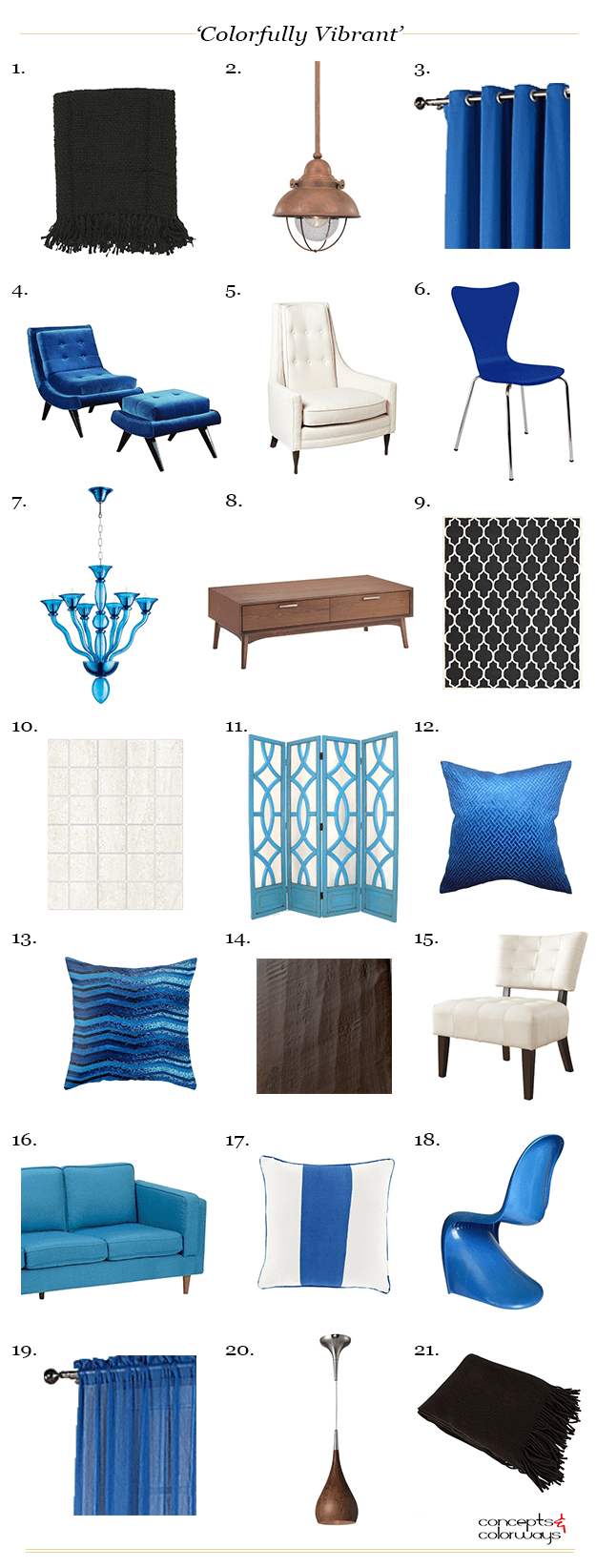 bright blue and brown interior product roundup