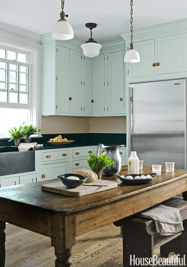farm house kitchen with seafoam green cabinets