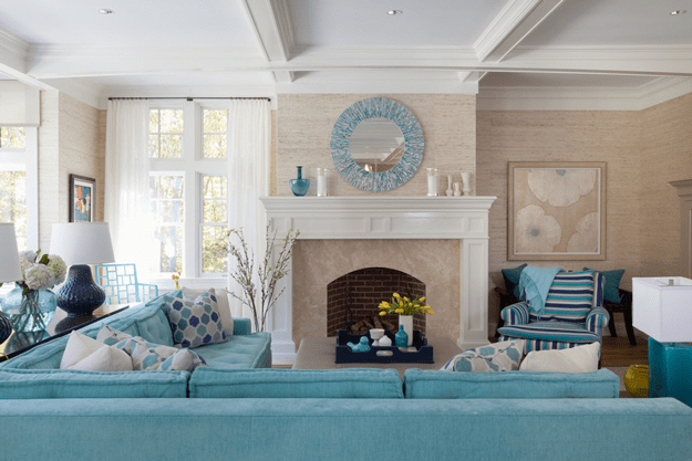 classic living room with turquoise sectional