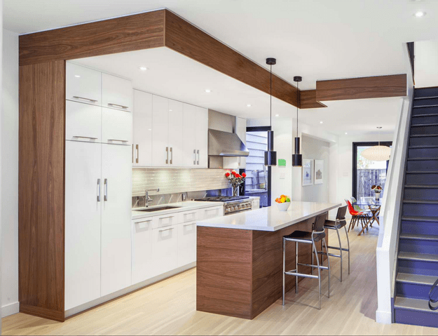 white modern kitchen with chocolate brown wood