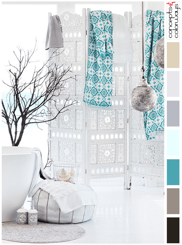 turquoise and white interior color palette
