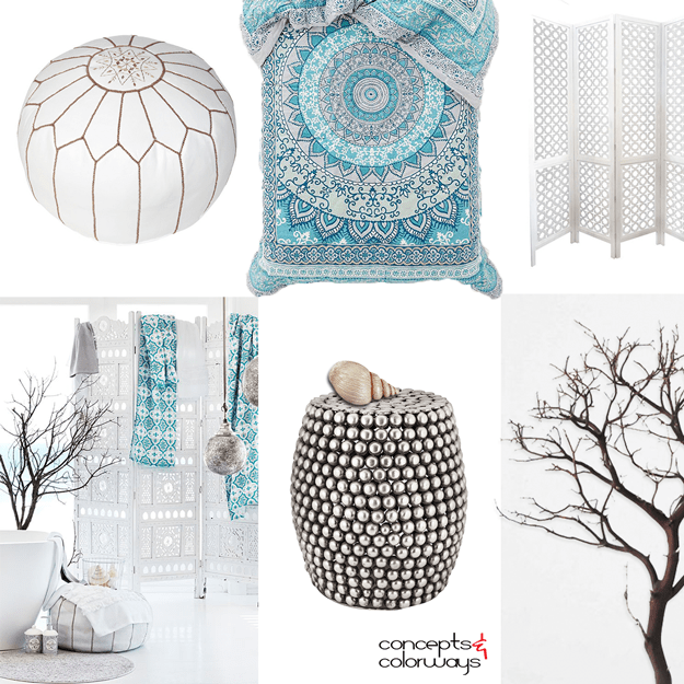 turquoise and white interior mood board