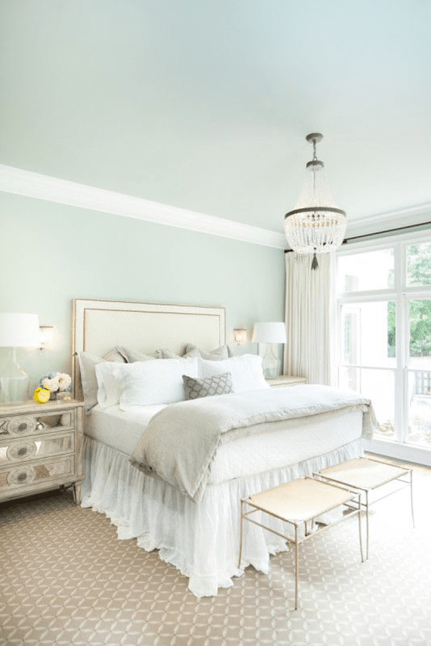 Light green relaxing master bedroom colors - Sherwin Williams Mountain Air Concepts And Colorways