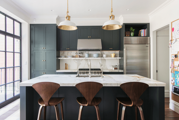 modern kitchen with chocolate brown barstools