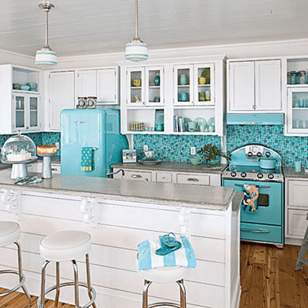 white kitchen with turquoise accents